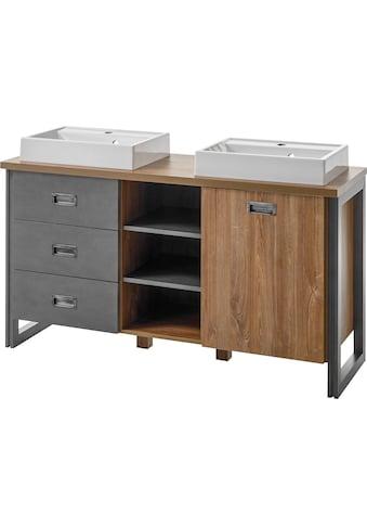 Home affaire Waschtisch »Detroit«, Breite 138 cm, 2 Aufsatzwaschbecken aus Mineralguss kaufen