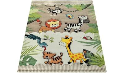 Paco Home Kinderteppich »Diamond 644«, rechteckig, 18 mm Höhe, Kurzflor, 3D-Design Dschungel Tiere, Kundenliebling mit 5 Sterne-Bewertung! kaufen