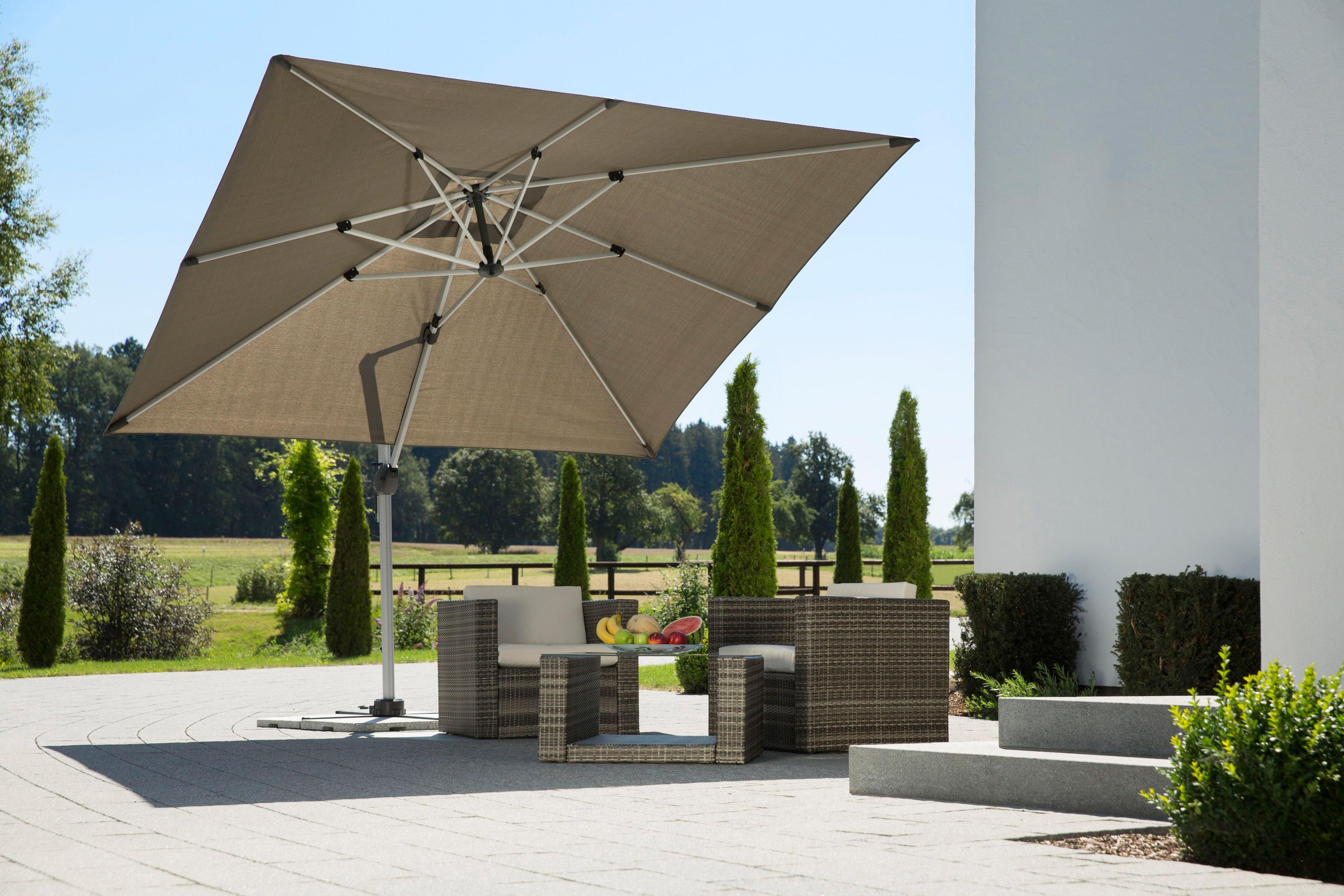 Schneider Schirme Ampelschirm Monaco, mit Schutzhülle und Schirmständer, ohne Wegeplatten grau Sonnenschirme -segel Gartenmöbel Gartendeko