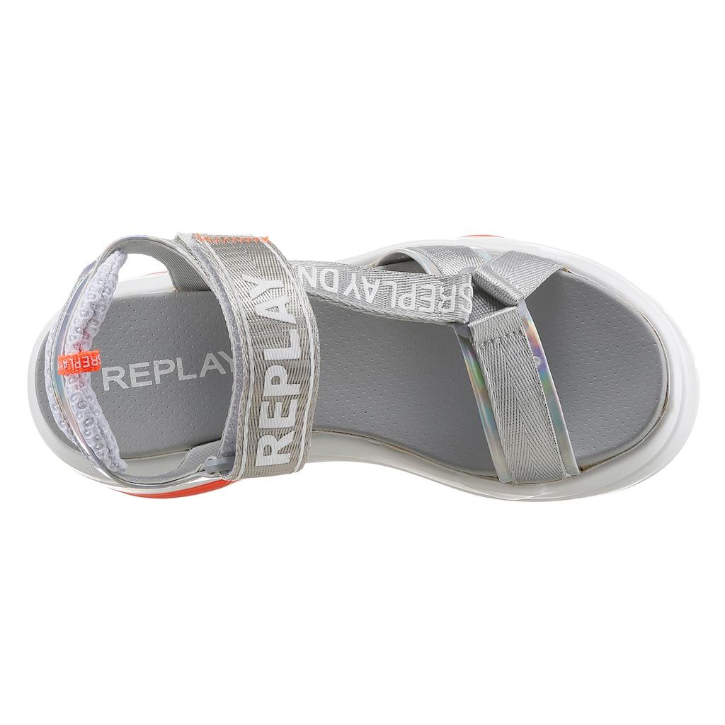 Replay Riemchensandale »WELLOW«, mit auffälligen Logoschriftzügen