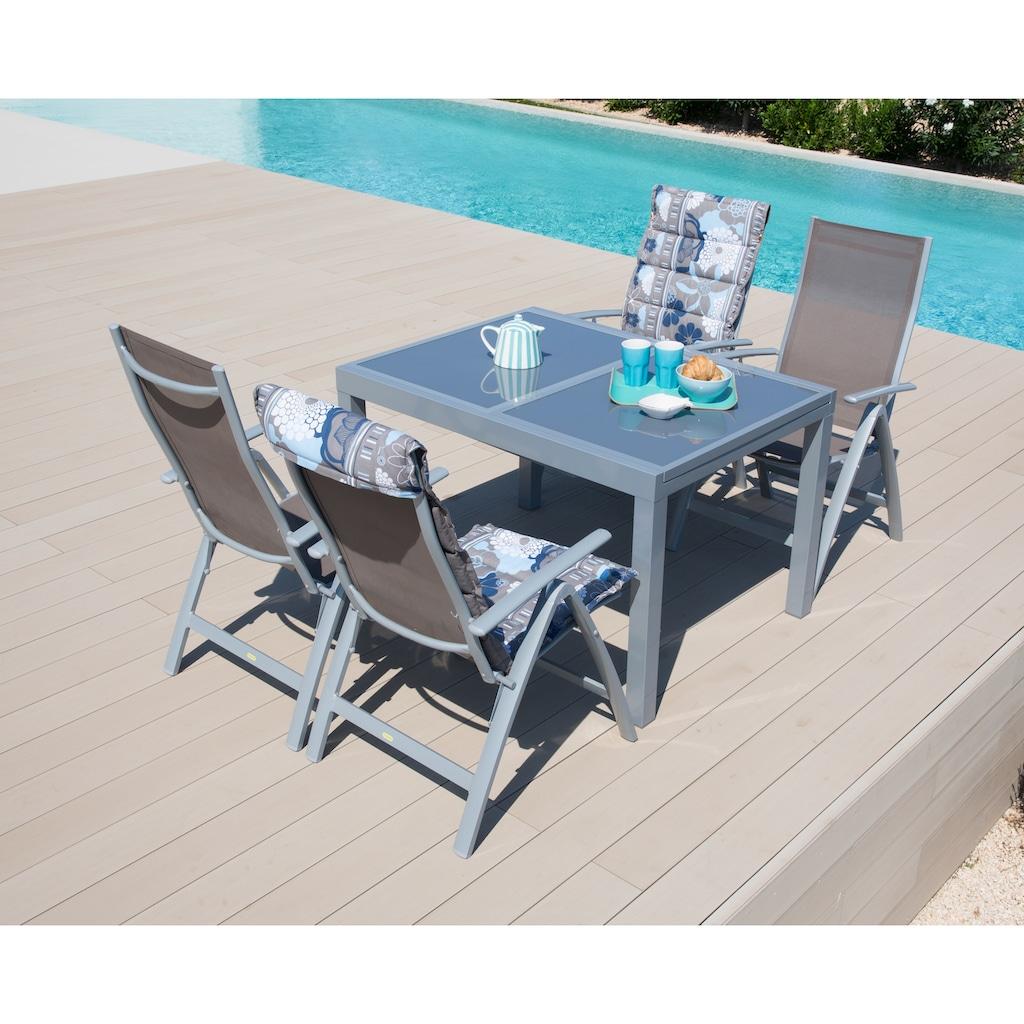 MERXX Gartenmöbelset »Amalfi«, (5 tlg.), 4 Klappsessel, Tisch 90x120-180 cm, Alu/Textil