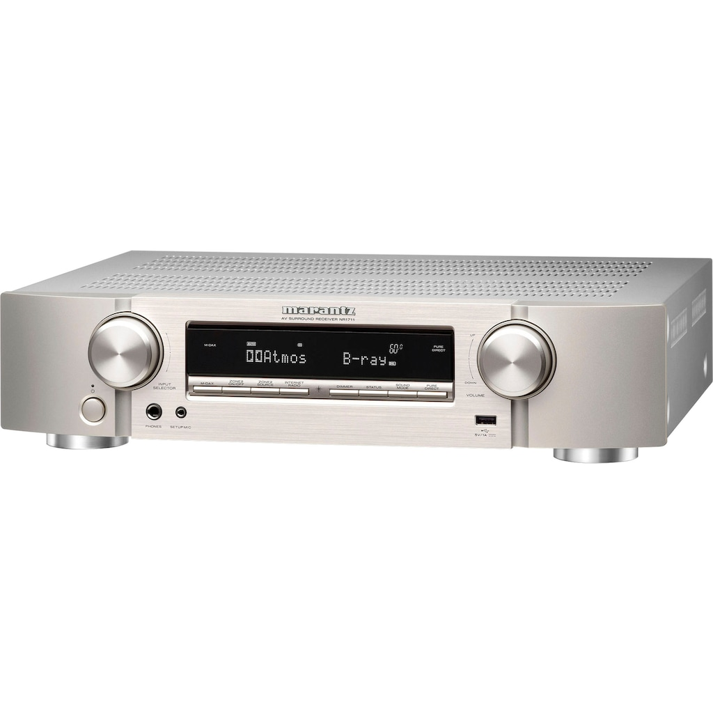 Marantz AV-Receiver »NR1711«, 7.2, (WLAN-LAN (Ethernet)-Bluetooth 3D-fähig-Video Upscaling-Sleeptimer-USB-Mediaplayer-FM Tuner-Sprachsteuerung-Internetradio-Hi-Res Audio), 7.2-Kanal 8K Ultra HD