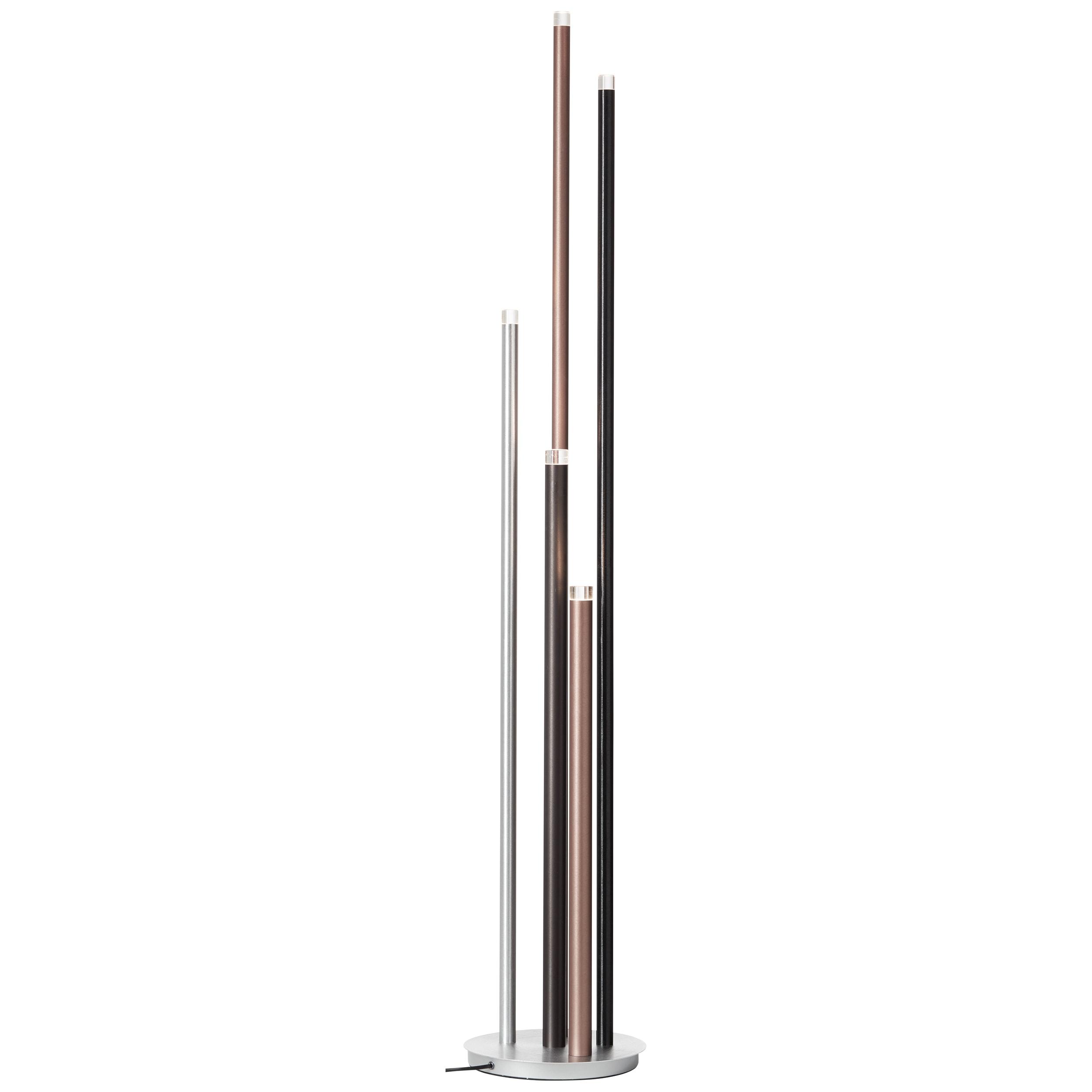 Brilliant Leuchten Cembalo LED Standleuchte 5flg alu/schwarz/braun