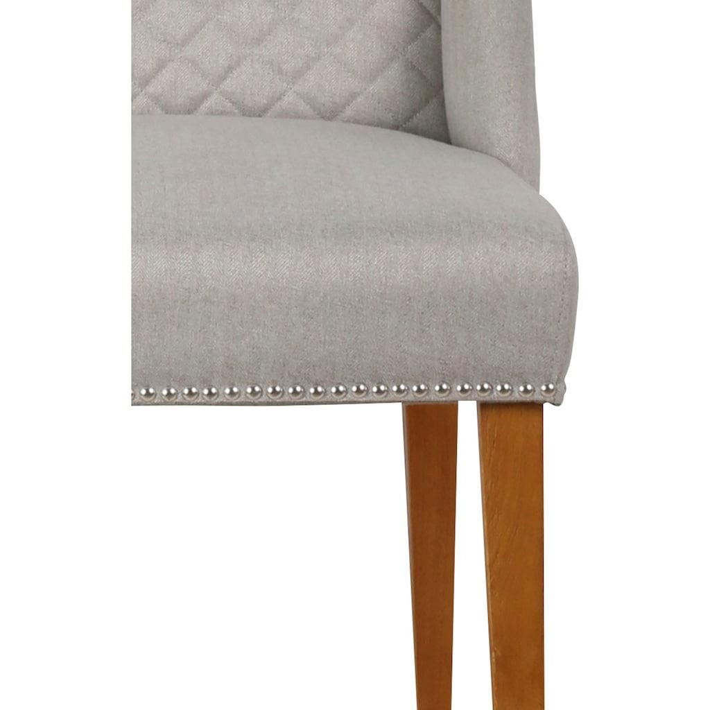 Home affaire Esszimmerstuhl »Erno«, mit gepolsteter Sitzfläche, Steppung in der Rückenlehne, silberne Nieten