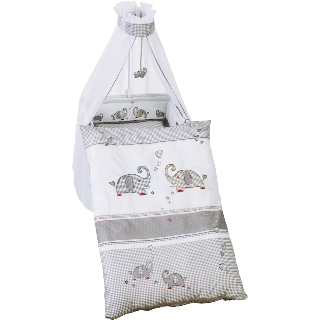 roba® Himmelbettgarnitur »Jumbo twins grau«, 4-tlg., mit Bettwäsche, Nestchen und Himmel