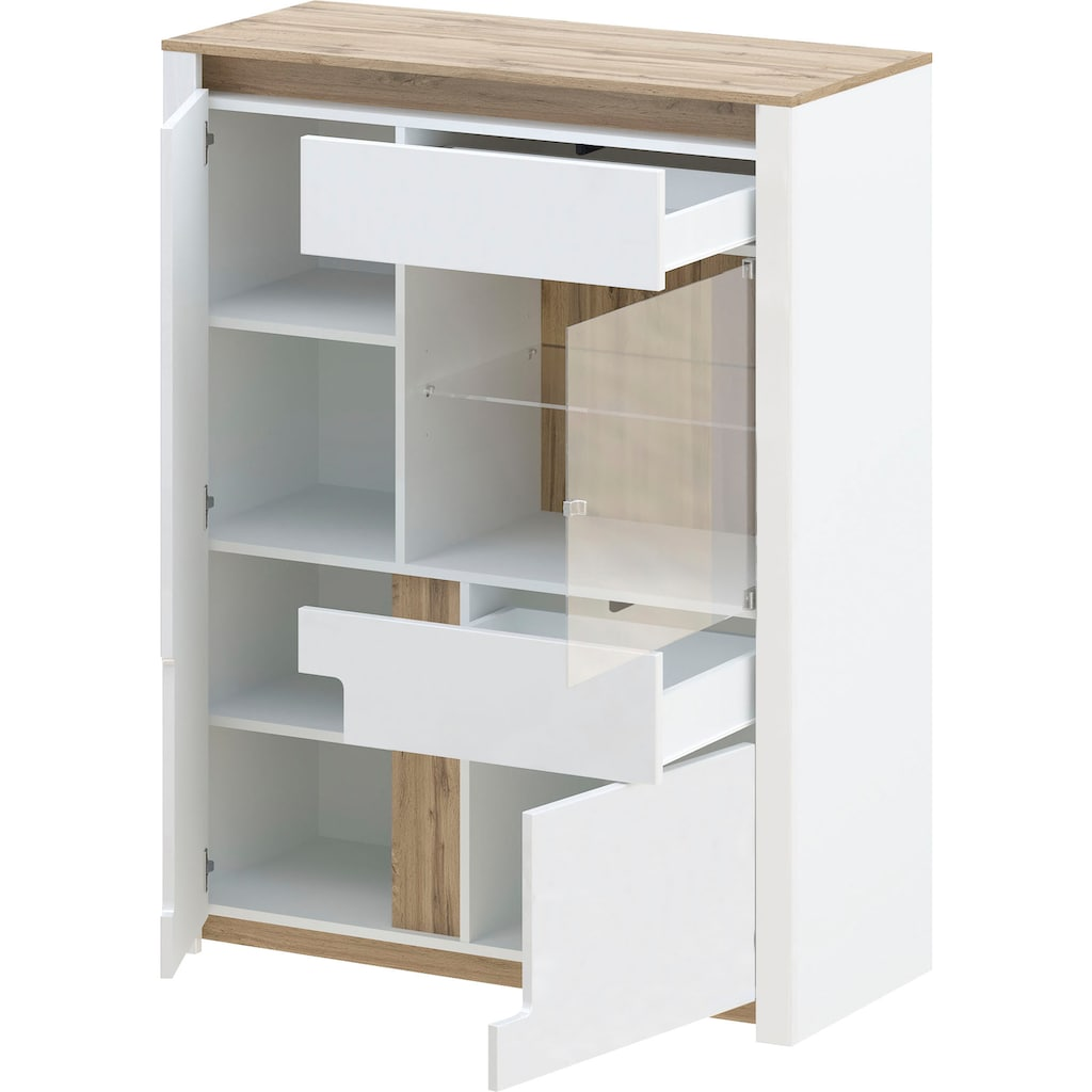 """Home affaire Highboard »Liostro«, Highboard """"Liostro"""" mit LEB-Beleuchtung, Push-to-open Funktion"""