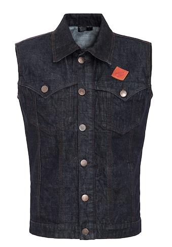 KingKerosin Jeansweste, mit Brusttaschen und Lederpatch kaufen