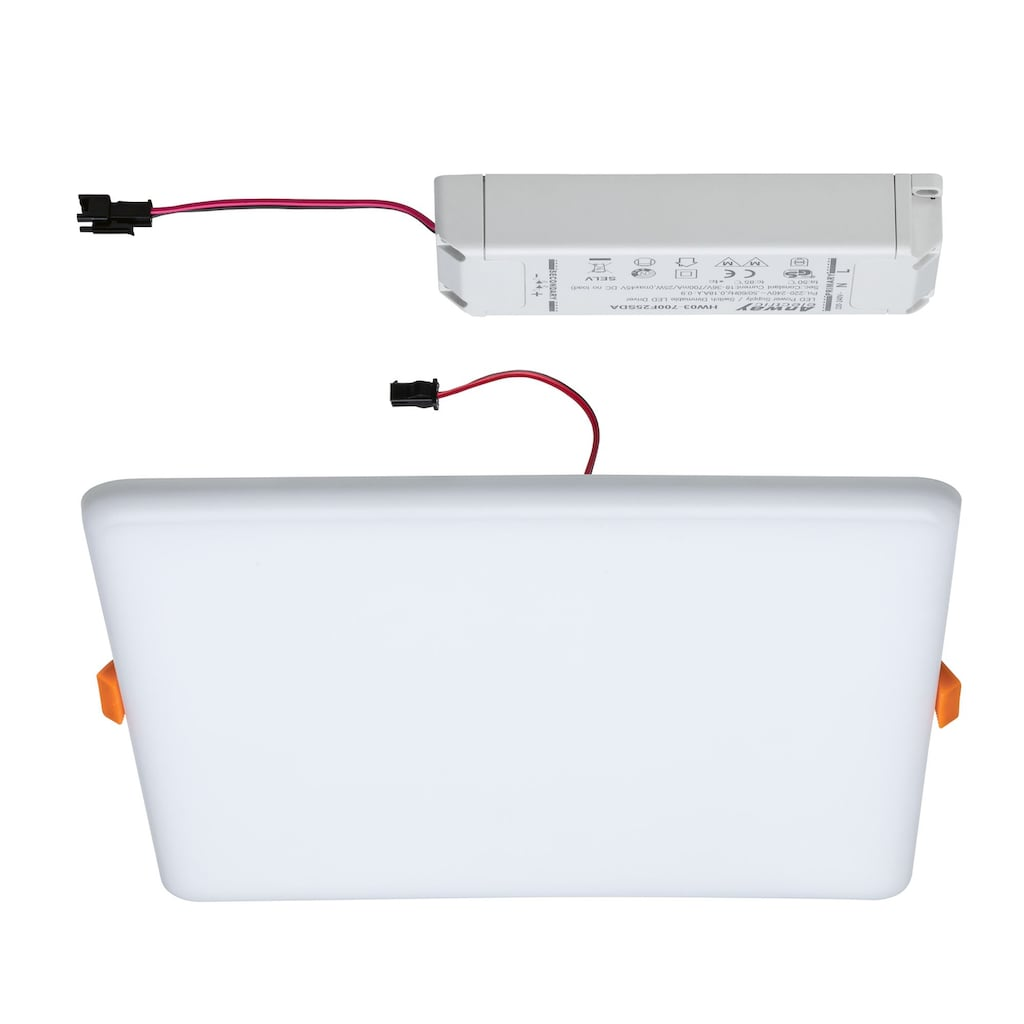 Paulmann LED Einbauleuchte »Panel Veluna VariFit IP44 3-Stufen-dimmbar eckig 215x215mm 22W 4.000K Satin«, 1 St., Neutralweiß