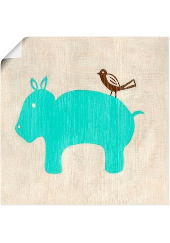 Artland Wandbild »Beste Freunde-Nilpferd«, Tiere, (1 St.), in vielen Größen &... kaufen