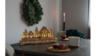 KONSTSMIDE LED Holzsilhouette, Dorf mit Schneemann und Rentier kaufen