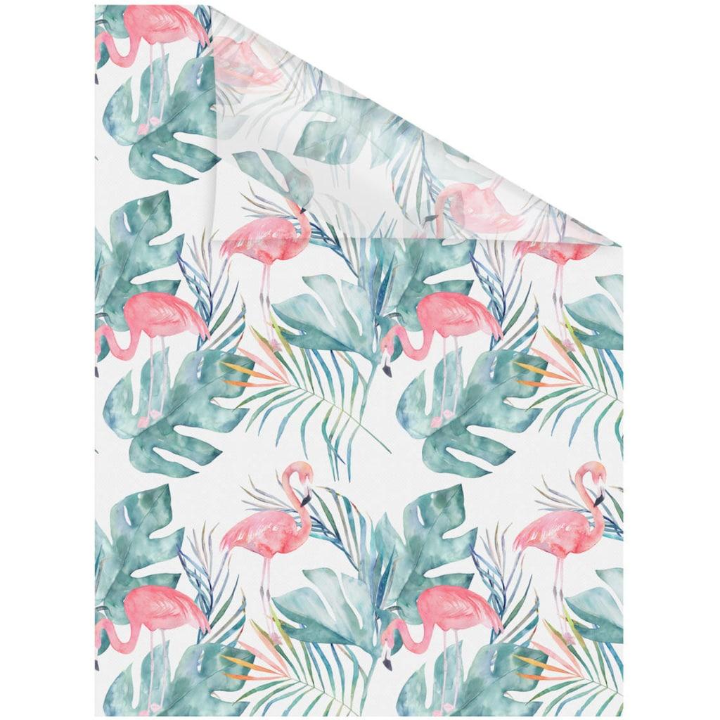 LICHTBLICK ORIGINAL Fensterfolie »Fensterfolie selbstklebend, Sichtschutz, Flamingo - Rosa Grün«, 1 St., blickdicht, glattstatisch haftend