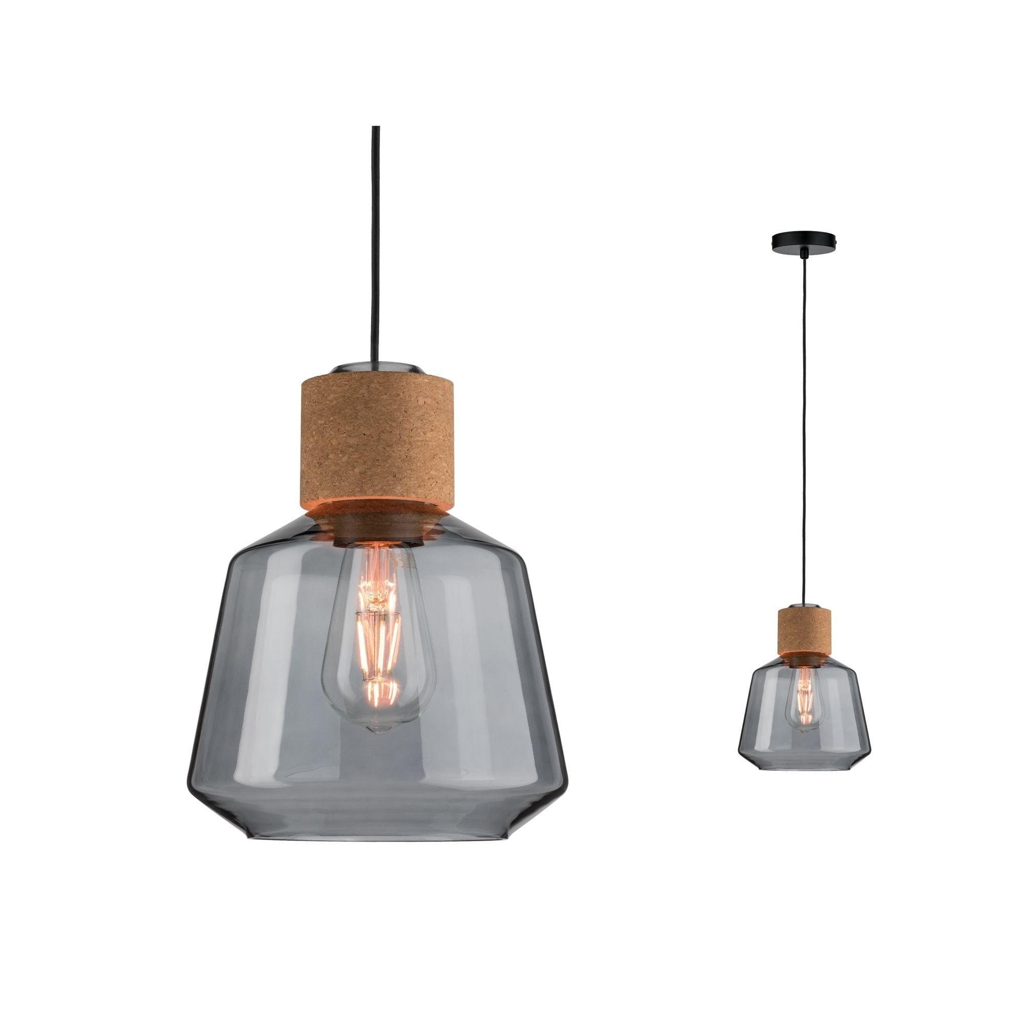 Paulmann,LED Pendelleuchte Elia Rauchglas/Kork/Schwarz max. 20W E27