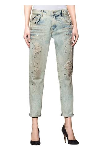 Alba Moda 5-Pocket-Jeans mit Zierperlen und Strasssteinchen kaufen