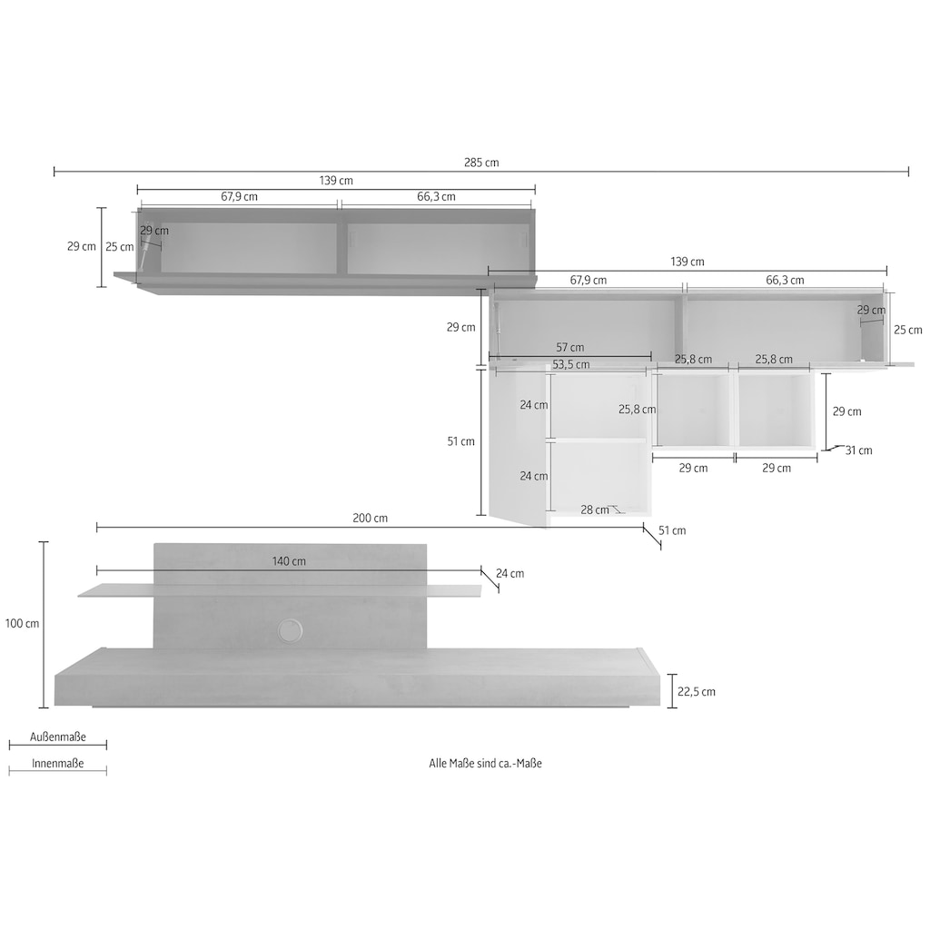 LC Wohnwand »Cube«, (Set, 5 St.)