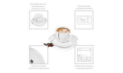 SÄNGER Kaffeeservice »Bilgola Black Lines«, (12 tlg., Kaffeeservice Bilgola Black... kaufen