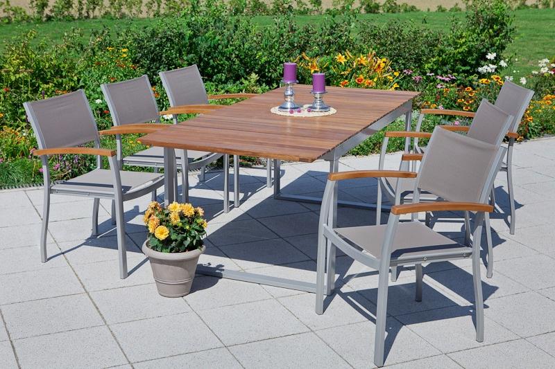 MERXX Gartenmöbelset Naxos 7-tlg 6 Sessel Tisch 90x200 cm Textil/Akazie braun