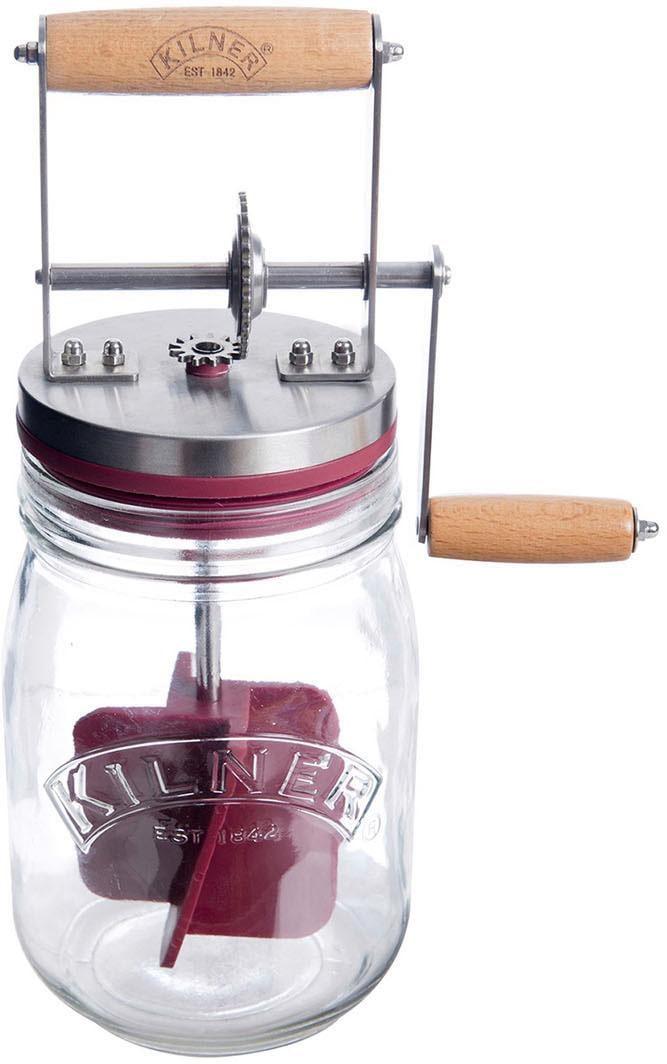 KILNER Vorratsglas, (1 tlg., 1 x Butterfass inkl. Deckel mit Holz-Griff und Silikon-Rührbesen-1 Rezeptheft), Butterfass, Liter farblos Aufbewahrung Küchenhelfer Haushaltswaren Vorratsglas