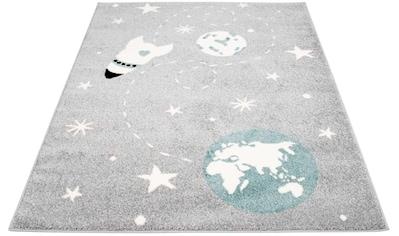 Carpet City Kinderteppich »Bubble Kids 1319«, rechteckig, 11 mm Höhe, Weltall Rakete, Kurzflor kaufen