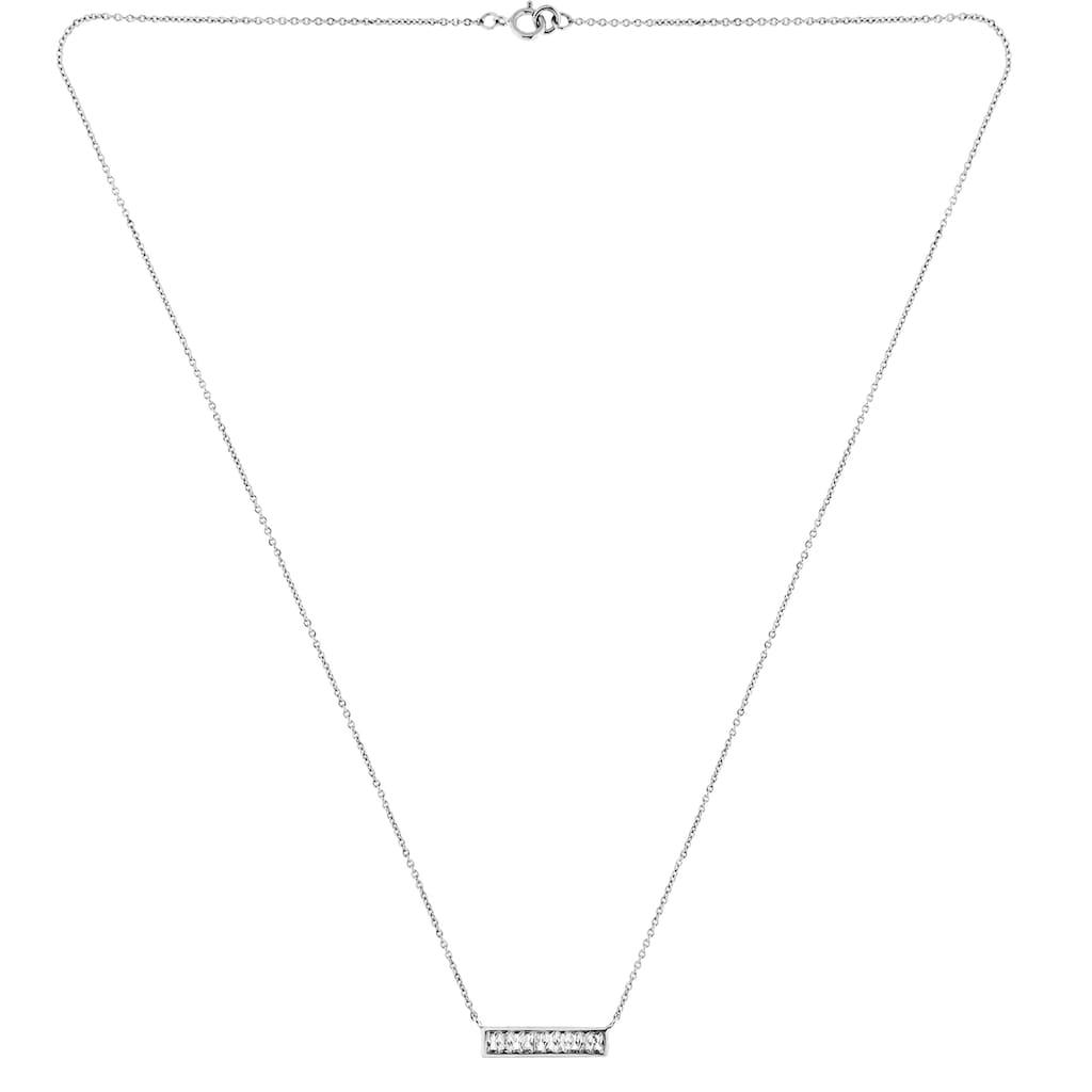 Smart Jewel Collier »Mittelteil gerade, mit weißen Zirkonia Steinen, Silber 925«