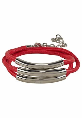 J.Jayz Wickelarmband »rot, mit Naht und 3 Metallelementen« kaufen