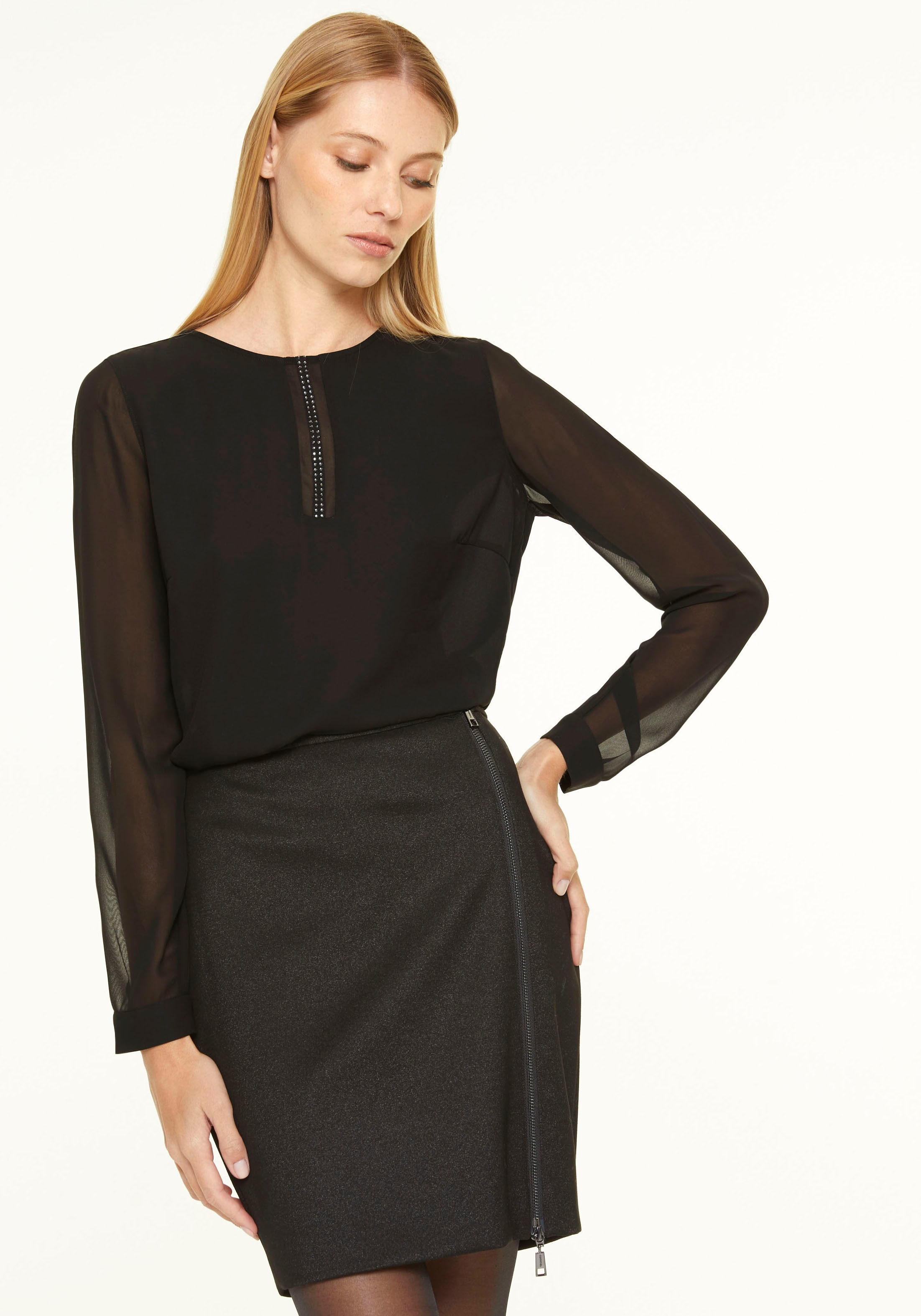 Comma Chiffonbluse, mit Swarovski-Kristallen schwarz Damen langarm Blusen Tuniken Chiffonbluse