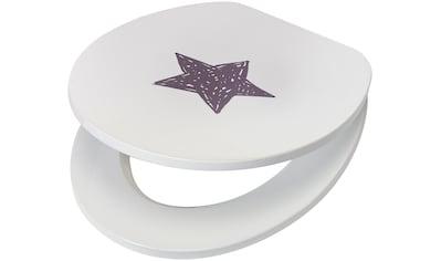 WC - Sitz »Star / Stern«, MDF Toilettensitz mit Absenkautomatik, grau weiß kaufen