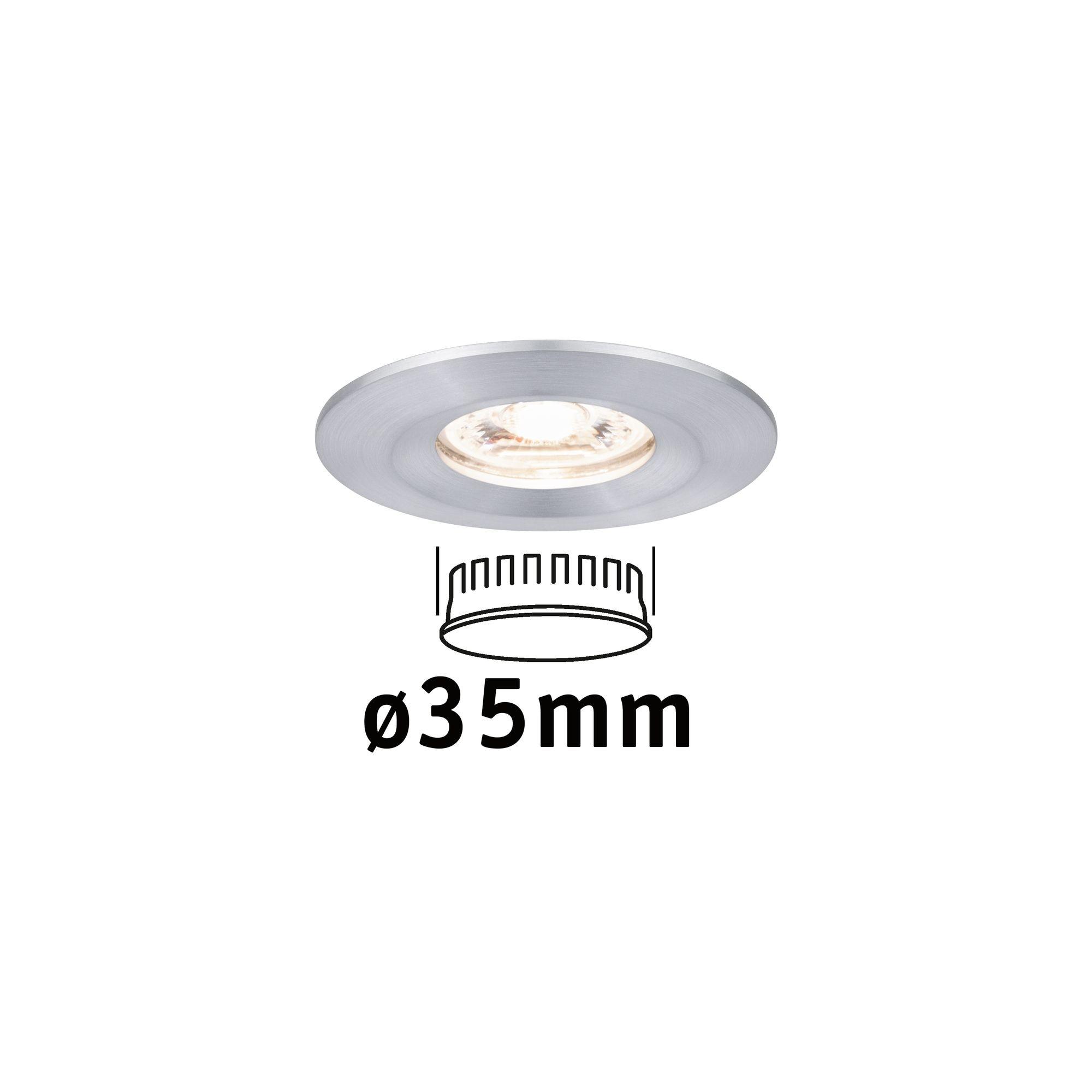 Paulmann LED Einbaustrahler Nova mini starr IP44 1x4W 2.700K Alu gedreht 230V, 1 St., Warmweiß