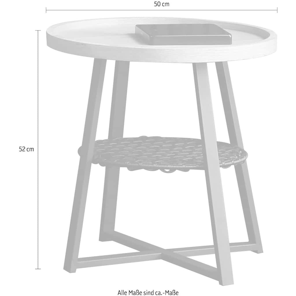 SalesFever Beistelltisch, Ablagefläche unter der Tischplatte aus Metallrahmen und Polyrattan