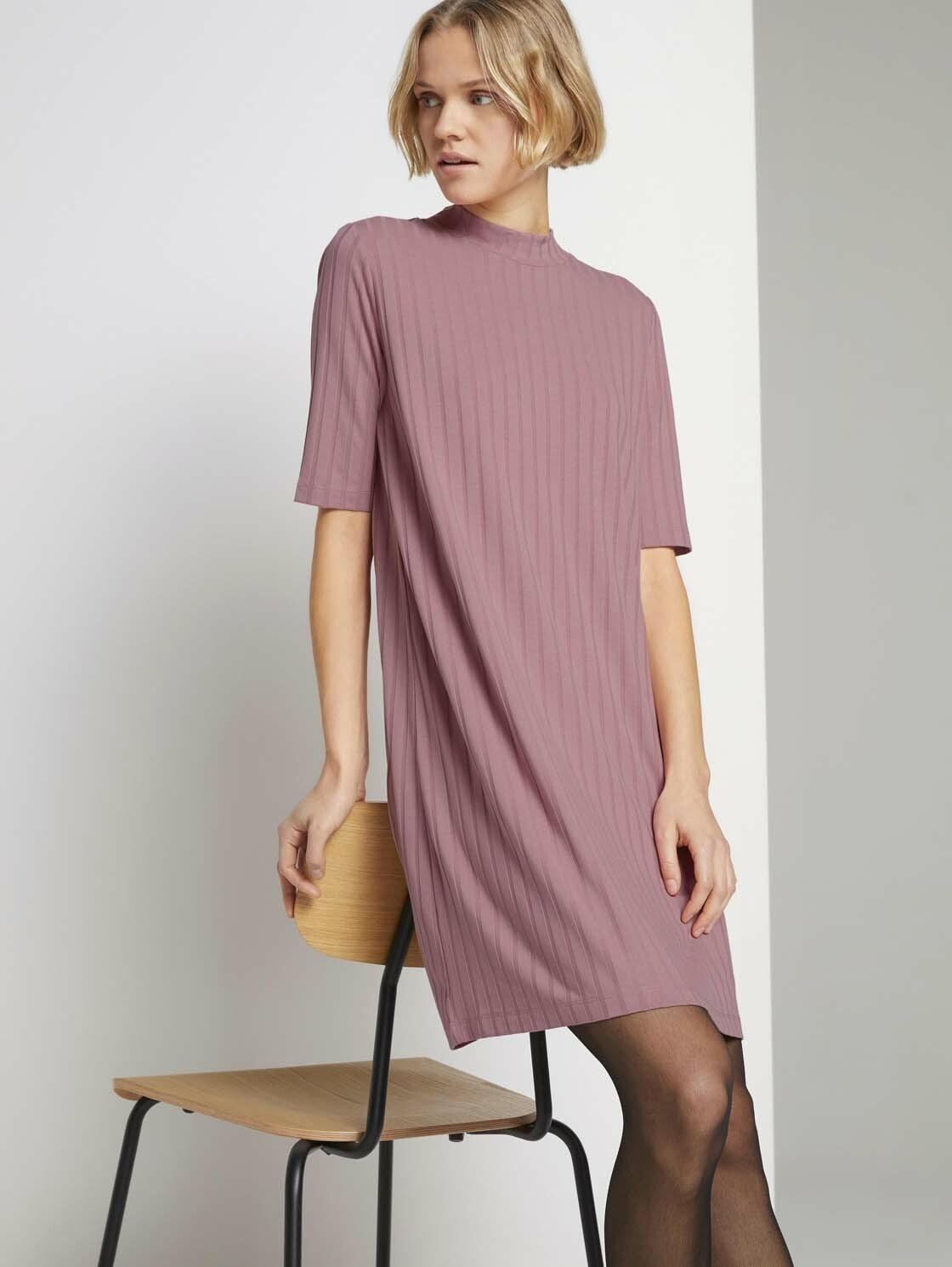 tom tailor denim -  Jerseykleid Kurzes Ripp Kleid mit Stehkragen