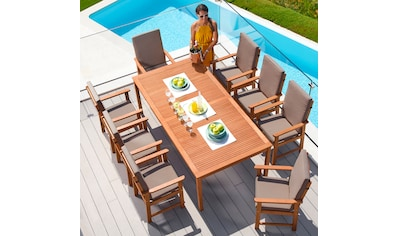 MERXX Gartenmöbelset »Montana«, 17 - tlg., 8 Sessel, Tisch 220x110 cm, Eukalyptus kaufen