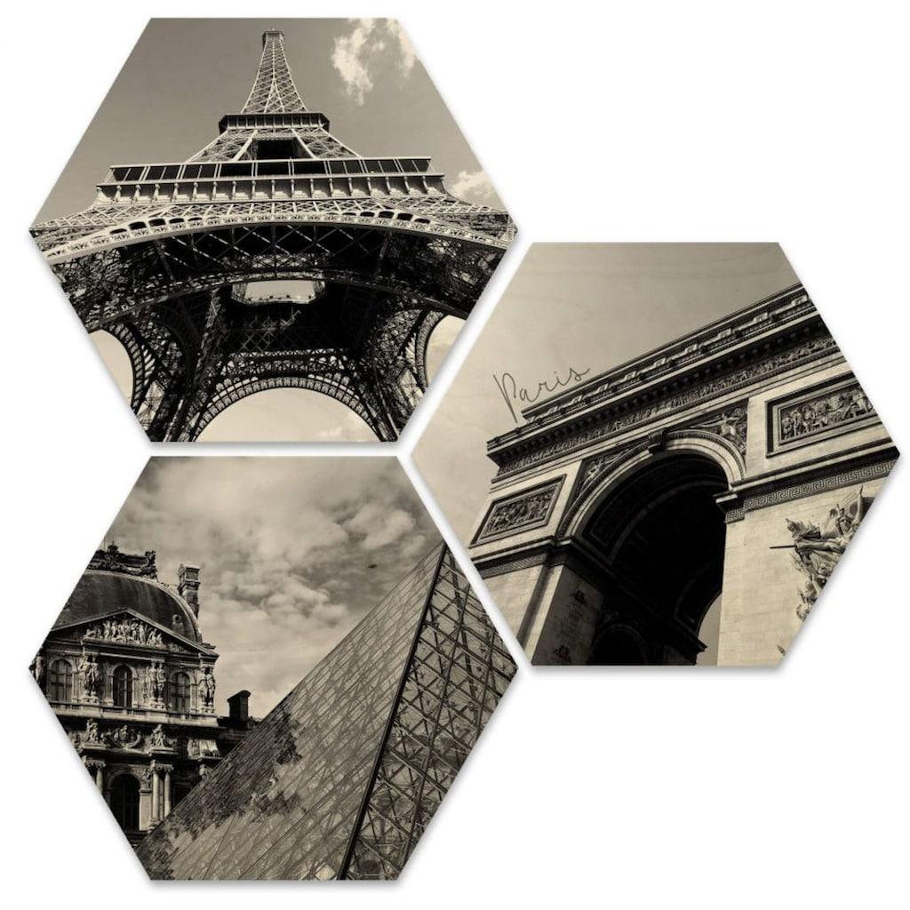 Wall-Art Mehrteilige Bilder »Impression Paris Stadt Collage«, (Set, 3 St.)