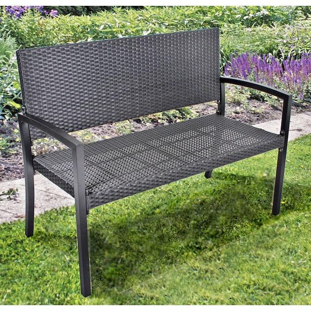 GARDEN PLEASURE Gartenbank »SANREMO«, Polyrattan, 116x87x60 cm, schwarz