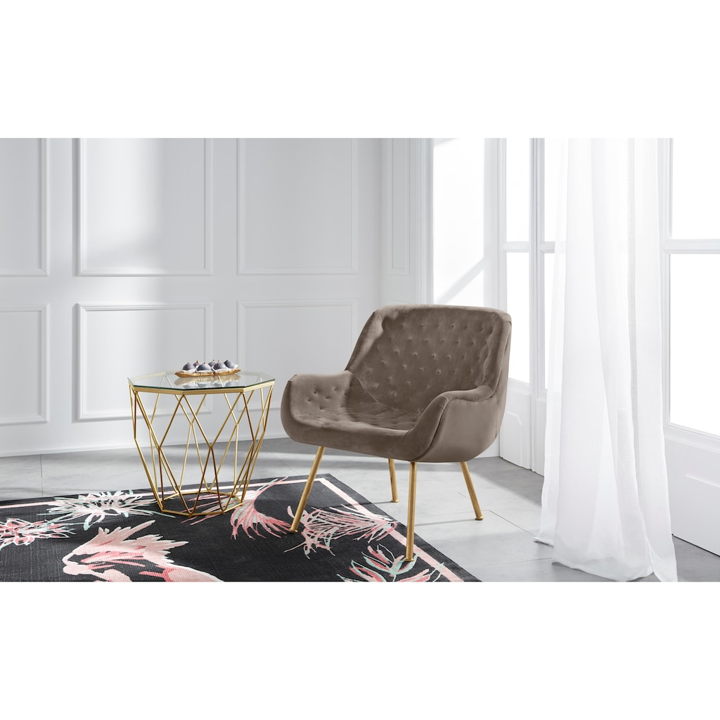 Guido Maria Kretschmer Home&Living Sessel »Roubaix«, aus weichem Velvetbezug und schönem Chesterfield-Look auf der Rücken- und Sitzfläche, Sitzhöhe 44 cm