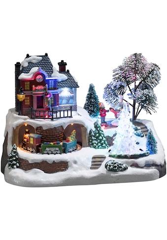 KONSTSMIDE Weihnachtshaus »Bahnhof«, mit Kristallweihnachtsbaum, Animation und 8... kaufen
