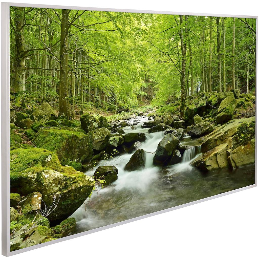Papermoon Infrarotheizung »Wasserfall im Wald, EcoHeat«, Aluminium, 600 W, 100x60 cm, mit Rahmen