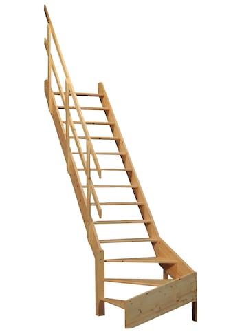 STARWOOD Raumspartreppe »Korfu«, offene Stufen, 1/4 links gewendelt, Holzgeländer links kaufen