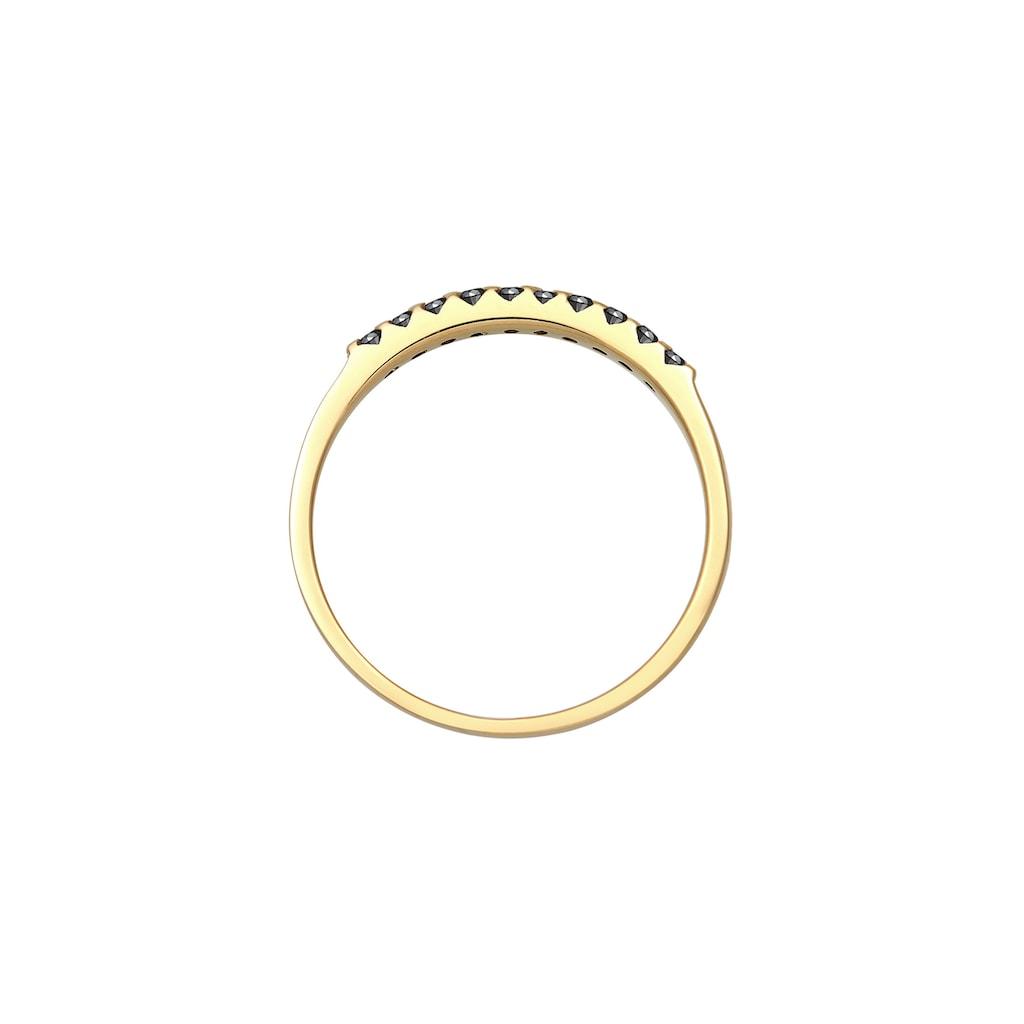 Elli Diamantring »Geo Schwarzer Diamant (0.15 ct.) 375 Gelbgold«