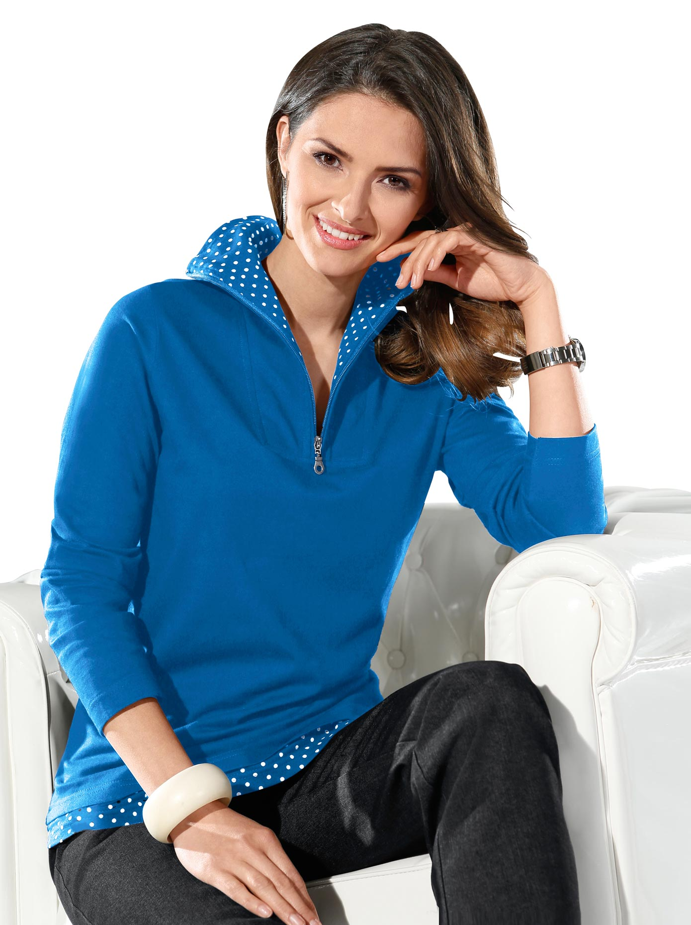 classic basics -  2-in-1-Shirt mit Tupfendessin