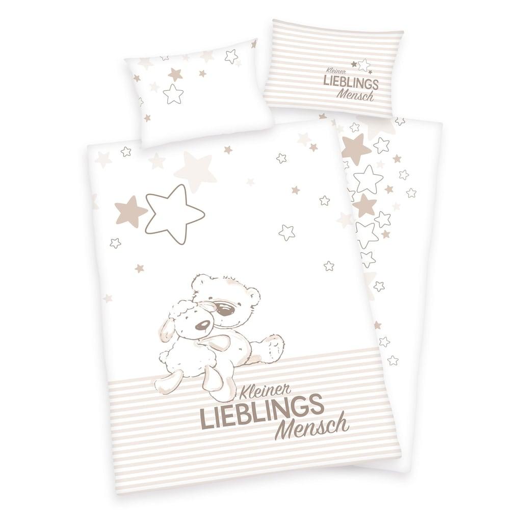 Herding Babybettwäsche »Kleiner Lieblingsmensch«, Mit Teddy und Schaf