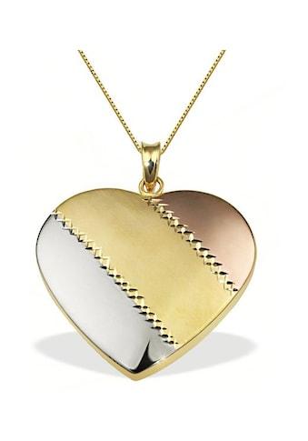 goldmaid Collier Herz gestreift 375/ -  Gold Tricolor kaufen