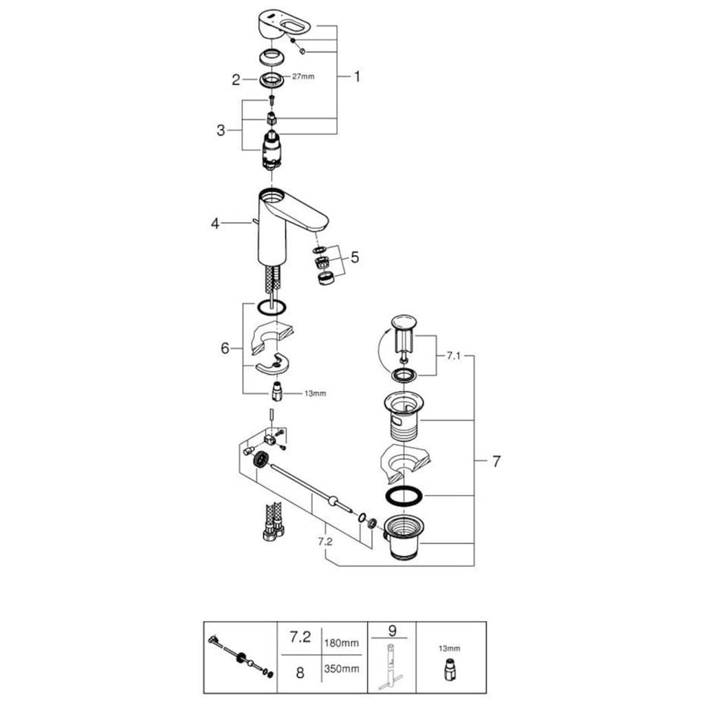 Grohe Waschtischarmatur »BauLoop DN 15, M-Size«, DN 15