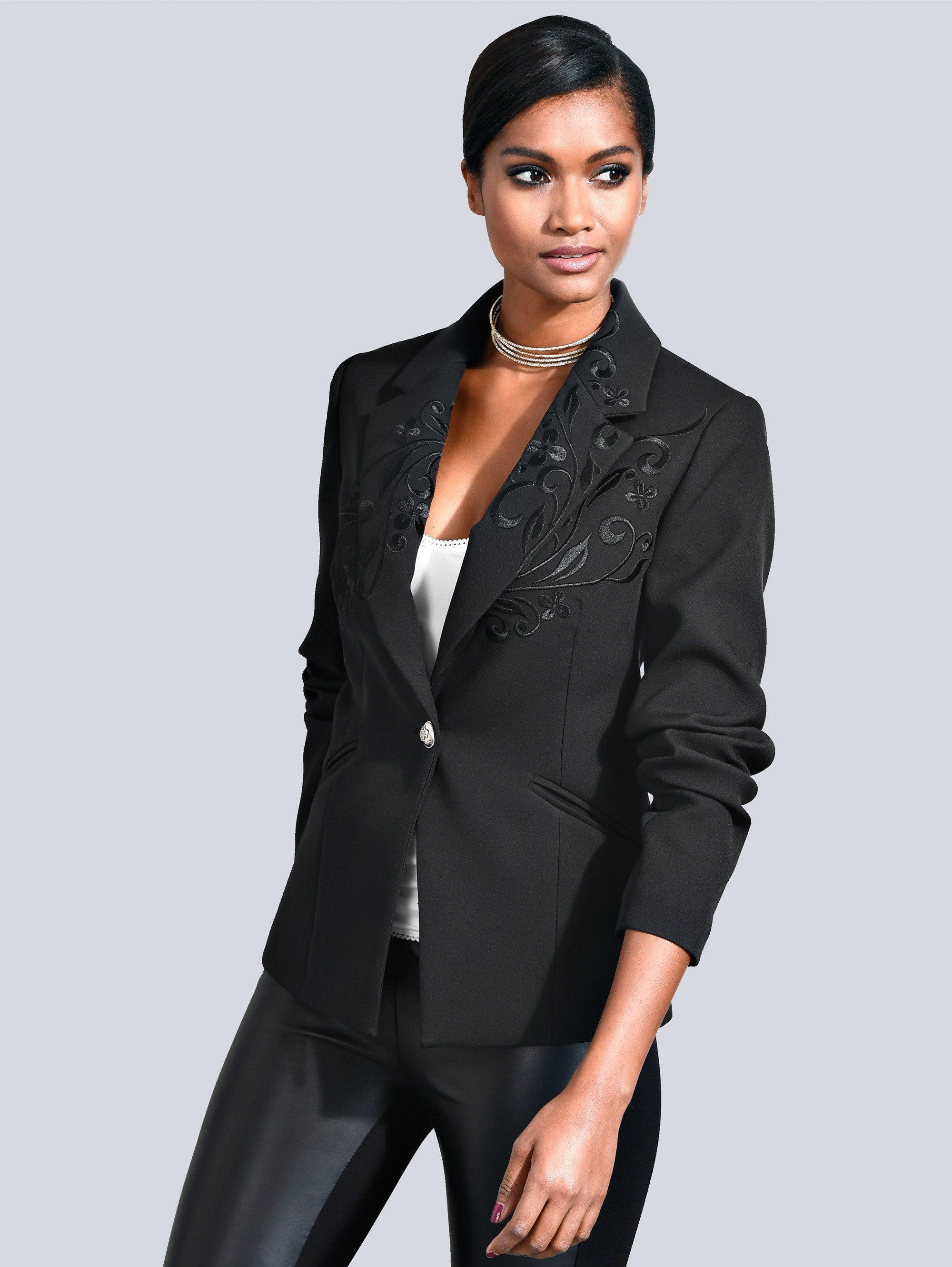alba moda blazer mit edler stickerei f r damen baur. Black Bedroom Furniture Sets. Home Design Ideas