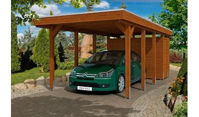 Skanholz Einzelcarport »Friesland 2«, Holz, 270 cm, braun, mit Abstellraum kaufen