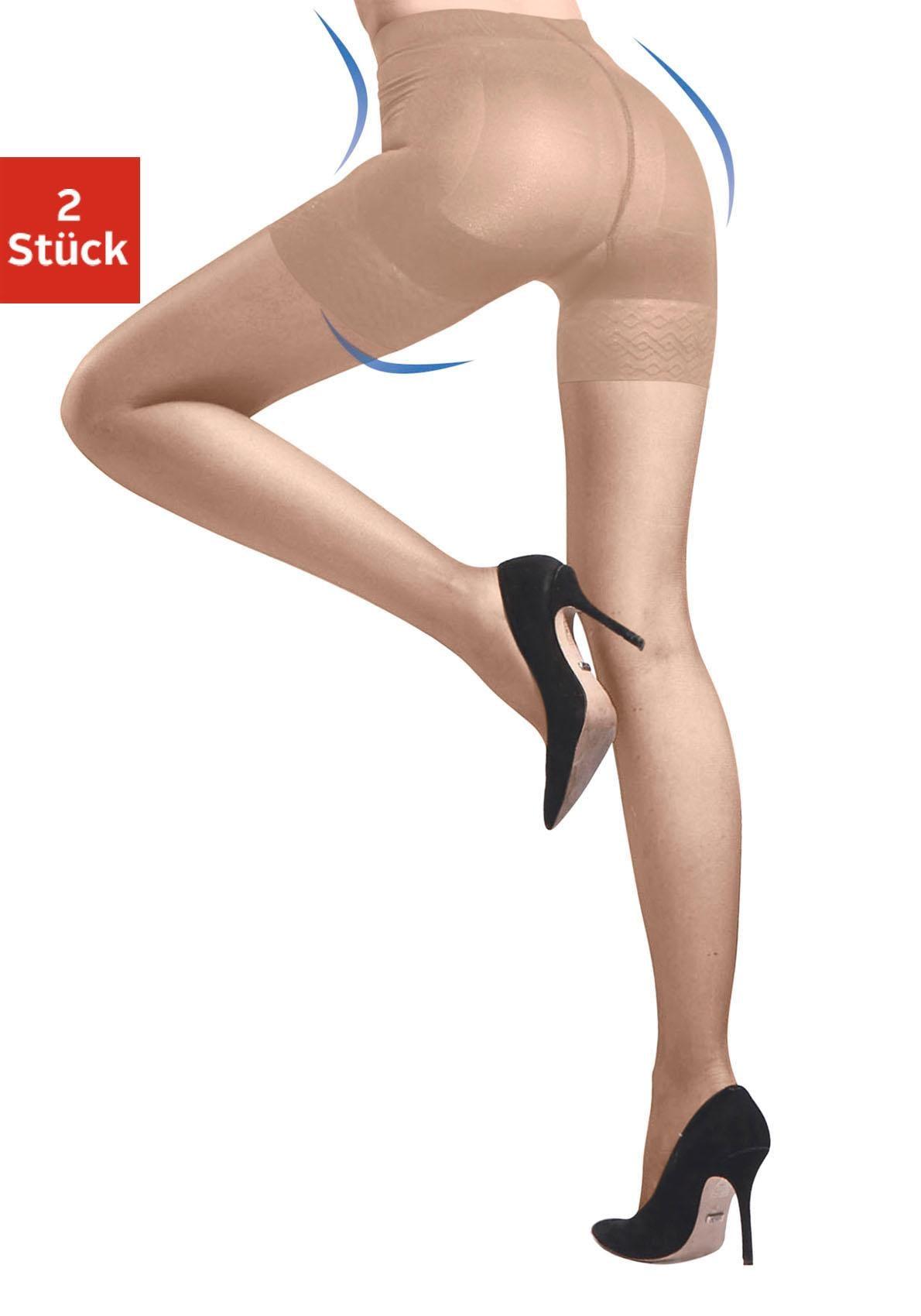 disée Stützstrumpfhose, 20 DEN, (Packung, 2 St.), mit dreifachem Shaping-Effekt beige Damen Stützstrumpfhosen Strumpfhosen Stützstrumpfhose
