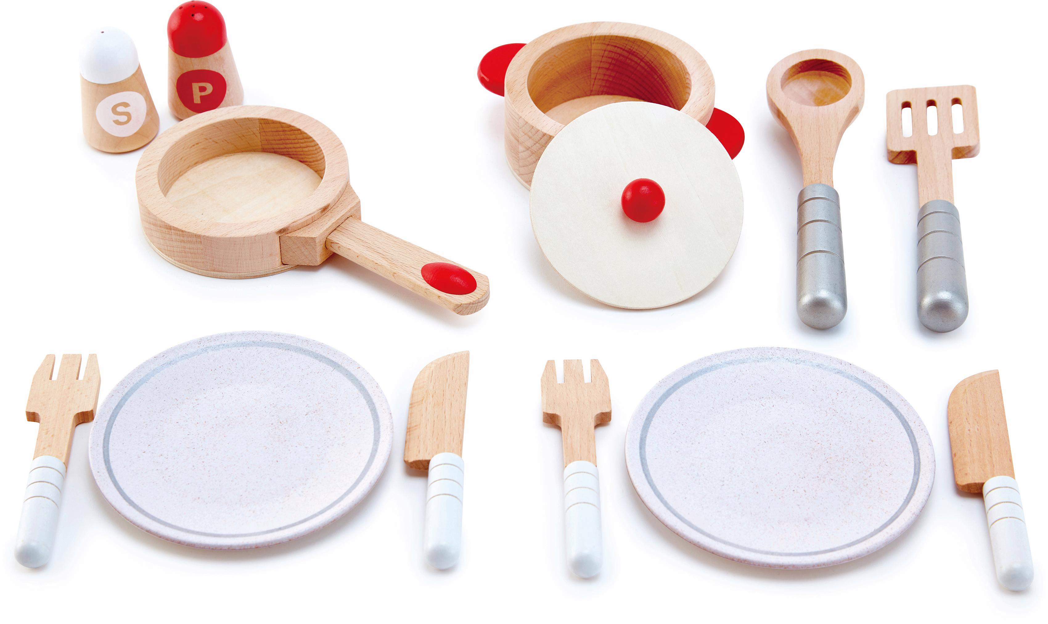 Hape Spielgeschirr Koch- & Servierset, 13-tlg., (Set, 13-tlg.) bunt Kinder Ab 3-5 Jahren Altersempfehlung