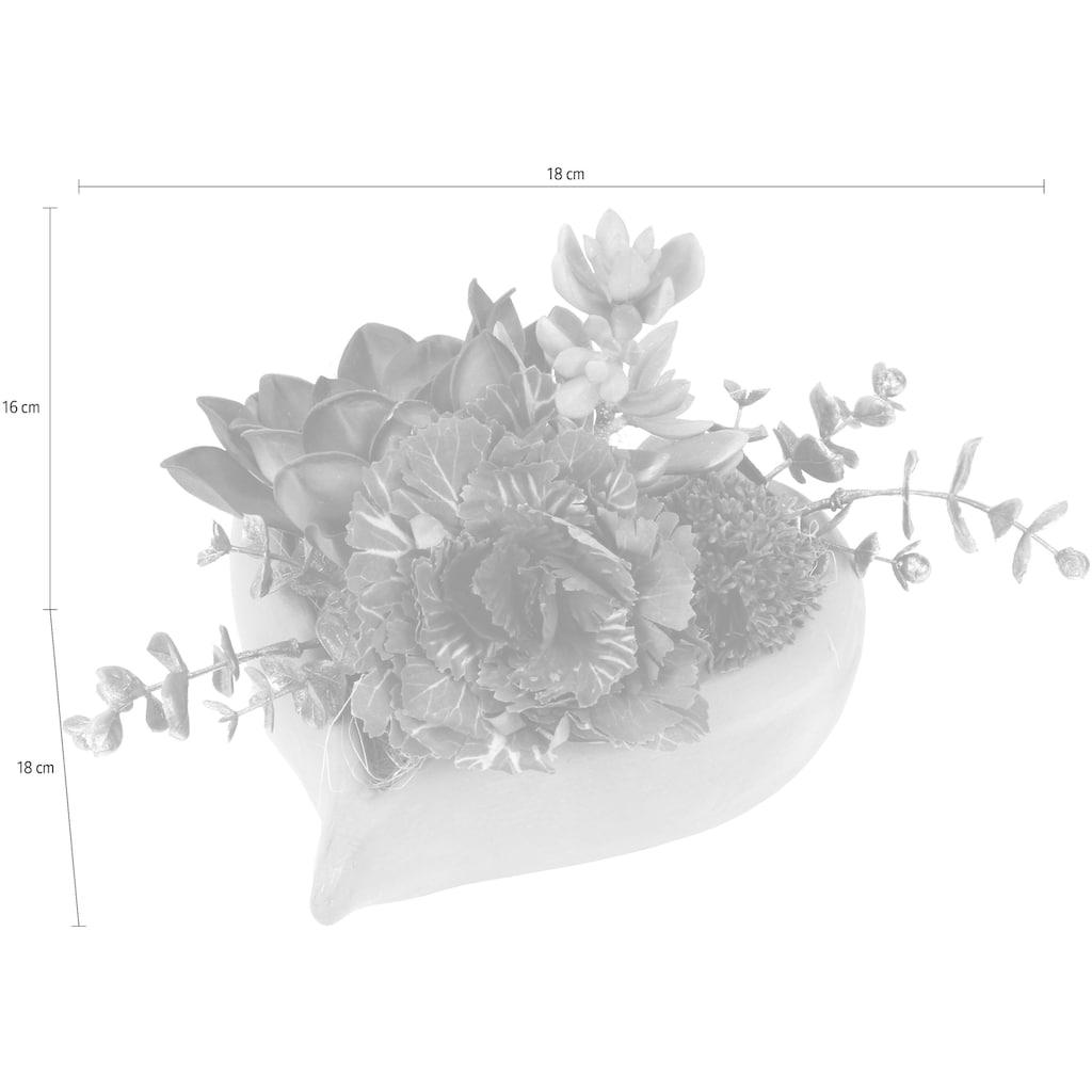 I.GE.A. Kunstblume, im herzförmigen Topf