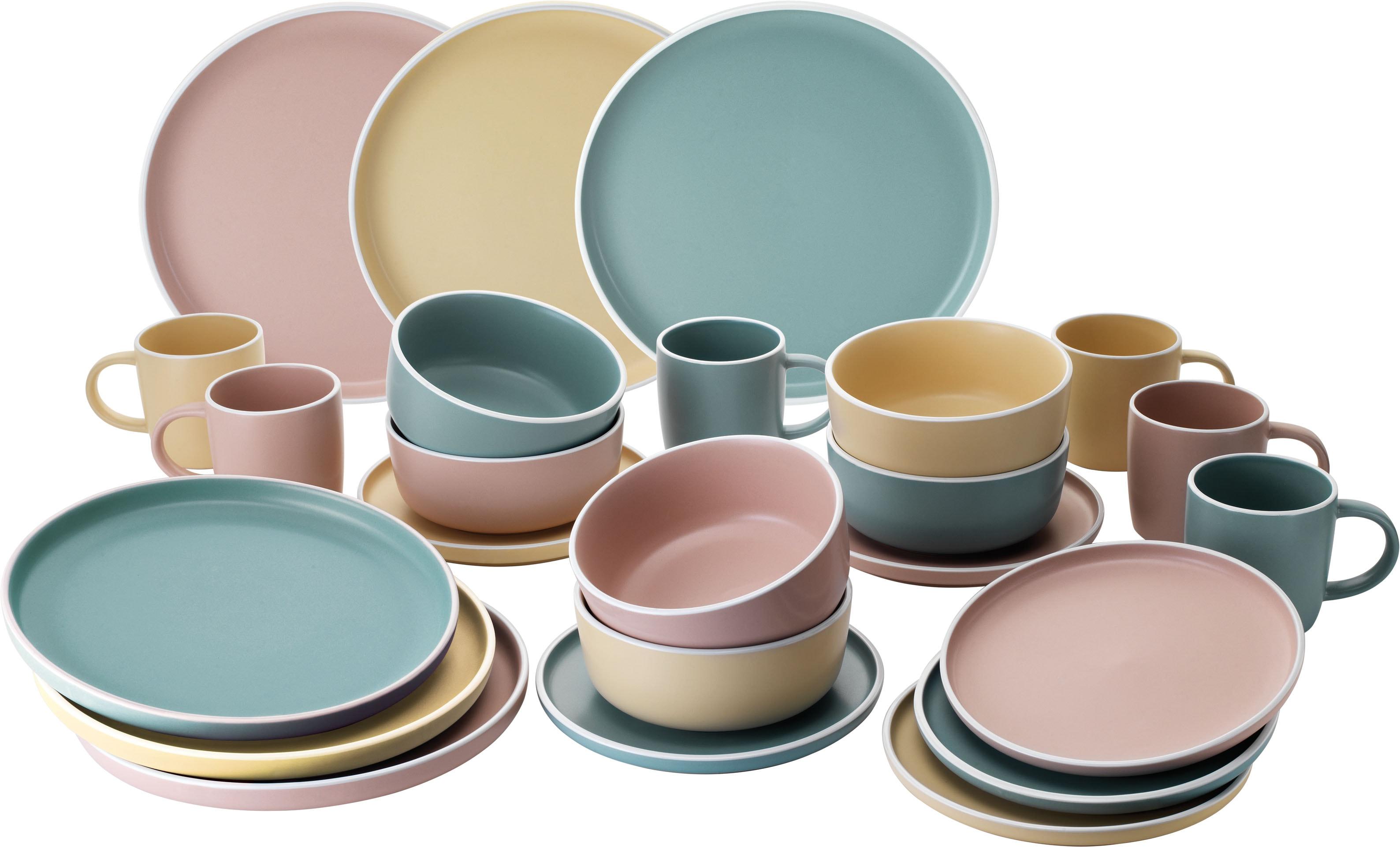 van Well Geschirr-Set Lina, (Set, 24 tlg.), Mix aus 3 Farben bunt Geschirr-Sets Geschirr, Porzellan Tischaccessoires Haushaltswaren