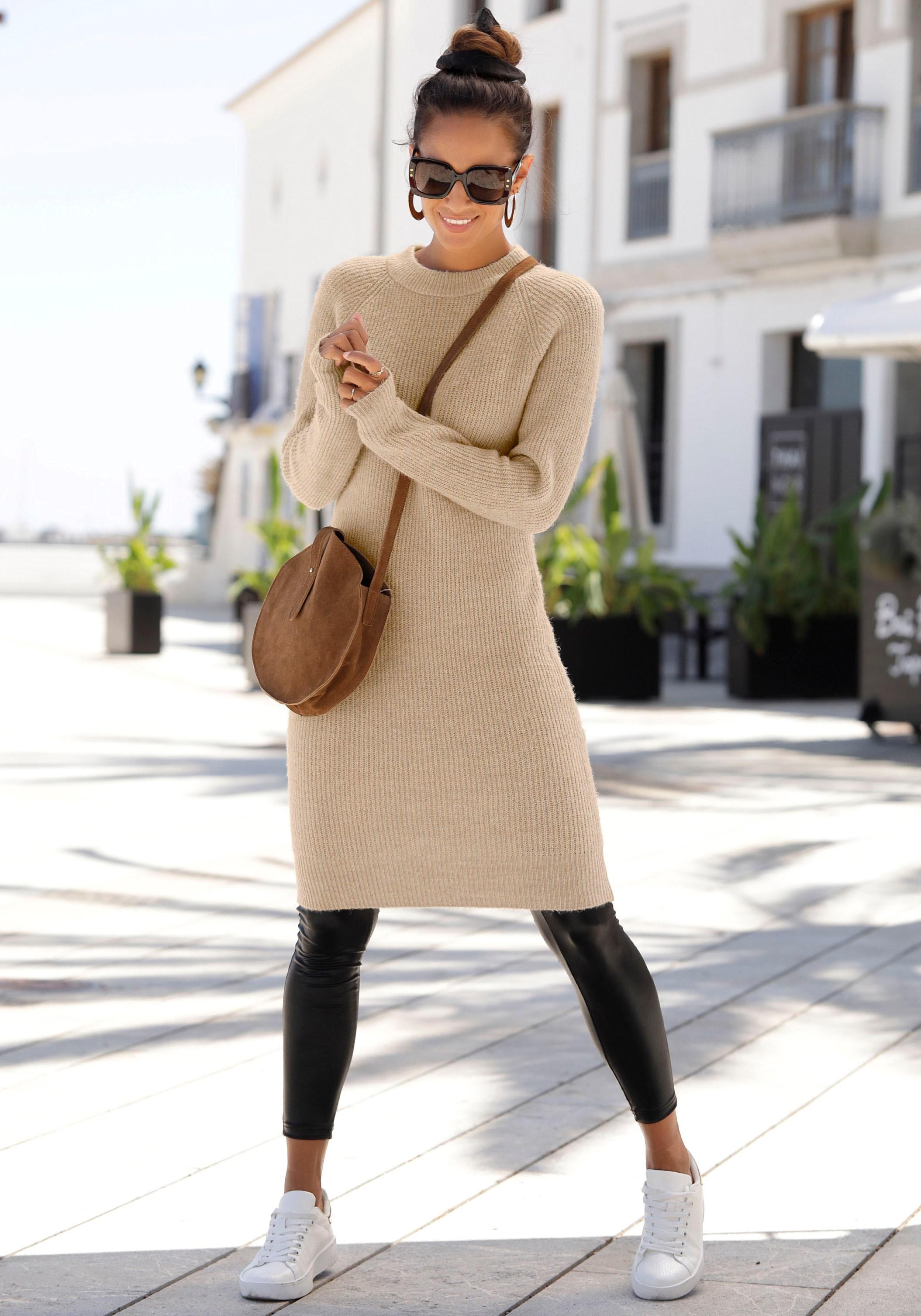 LASCANA Strickkleid, aus weichem Rippstrick beige Damen Strickkleider Kleider Strickkleid
