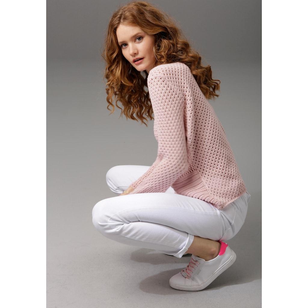 Aniston CASUAL Rundhalspullover, mit trendig gemixten Ajour-Mustern