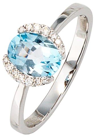 JOBO Diamantring, 585 Weißgold mit Blautopas und 14 Diamanten kaufen